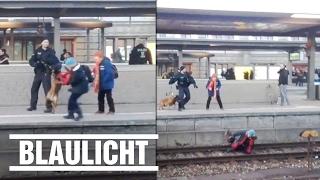 Polizeihund stößt Frau auf