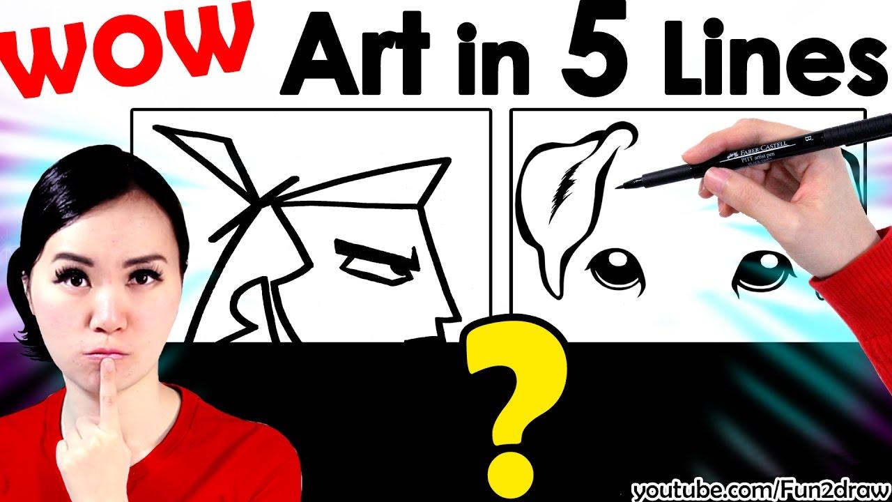 New Art  Amazing Art Work In 5 Lines!  Mei Yu Youtube