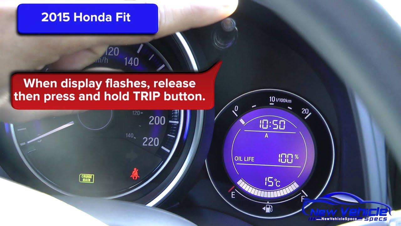 2015 Honda Fit Oil Light Reset / Oil Life Reset - YouTube