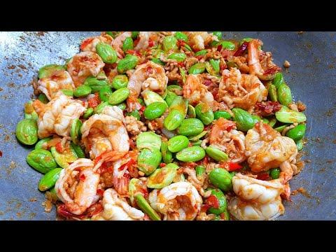 กับข้าวกับปลาโอ 751 สะตอผัดกะปิกุ้งสดหมูสับ ได้แรงอก  Stir-Fried Bitter Bean with Shrimp Paste