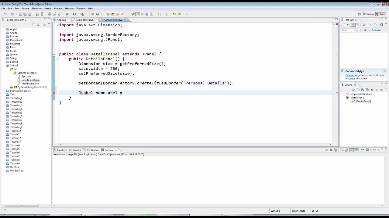 Java swing tutorial: examples to create gui.