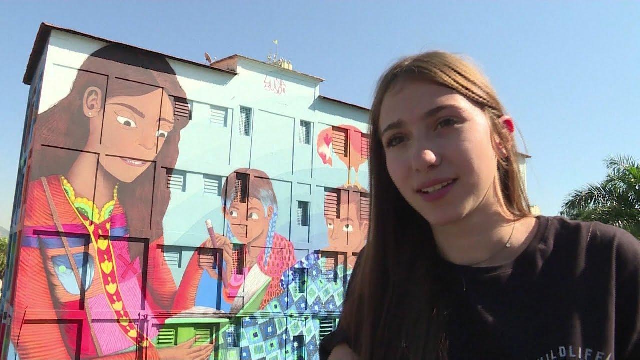 Mural On Rio De Janeiro School Called Largest Graffiti Art By A Woman