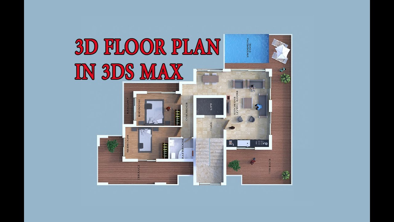 How to make 3d floor plan 3ds max part i youtube for Build a 3d house online
