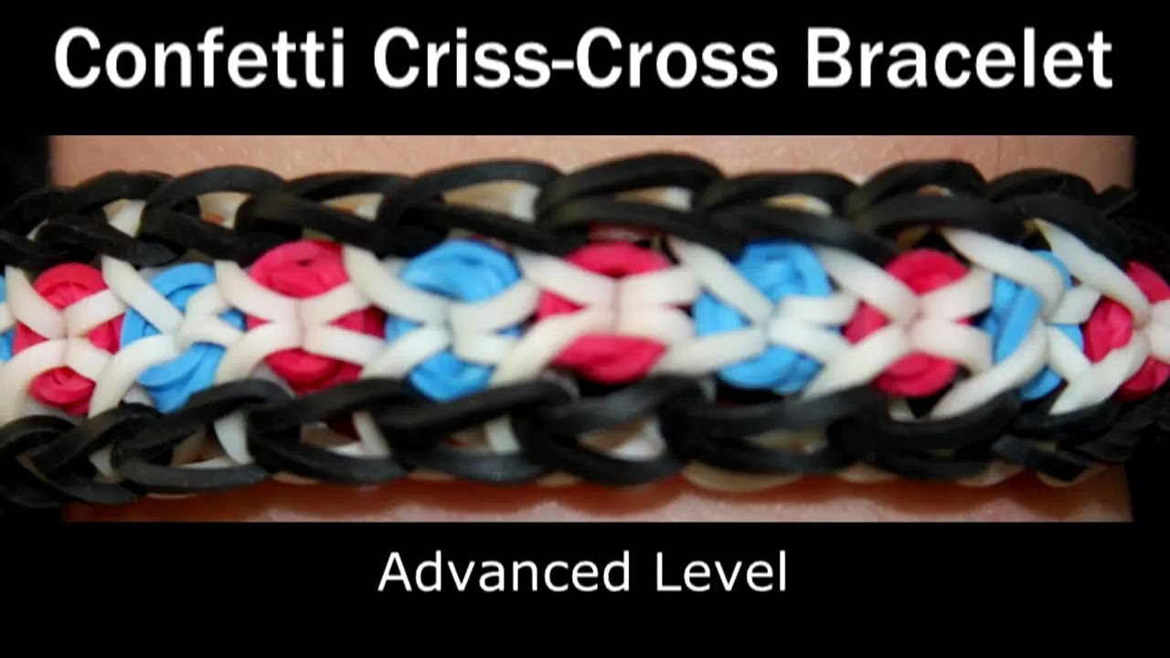 How To Make A Rubber Band Confetti Criss Cross Bracelet