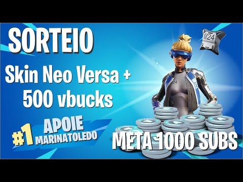 PERSONALIZADA - SORTEIO NEO VERSA + 500 VBUCKS - META 1K - CODE: MARINATOLEDO #ad - YouTube