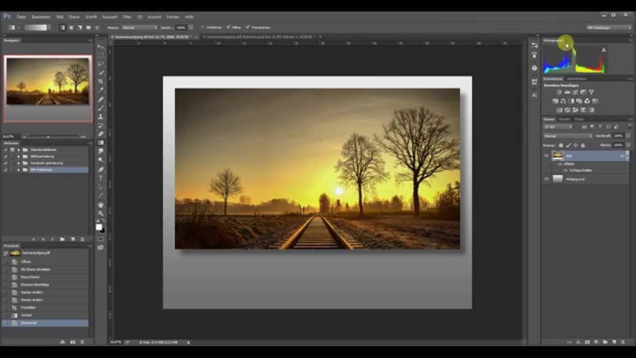 Photoshop - Bild mit Rahmen und Schatten erstellen - YouTube