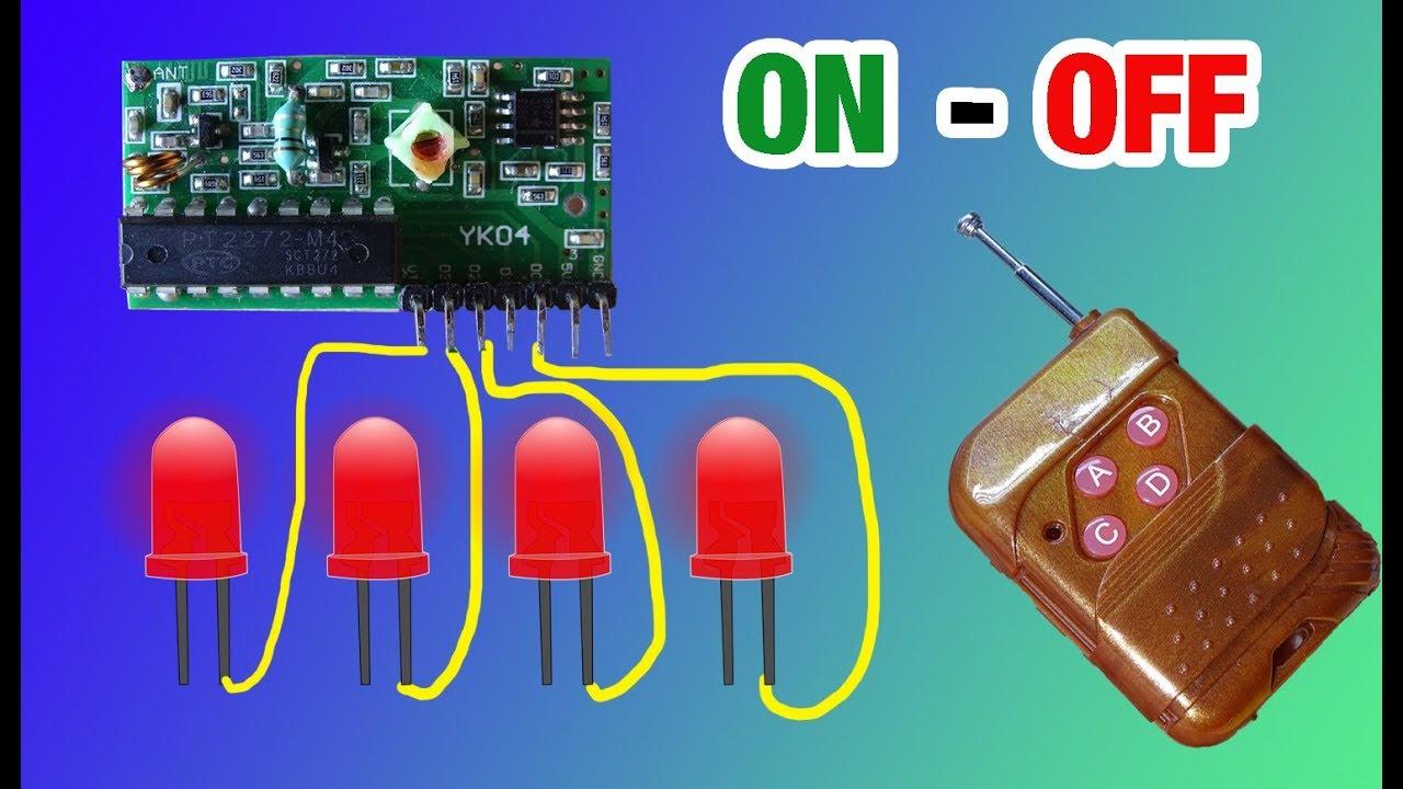 Modulo De Radio Frecuencia A Control Remoto Encendiendo 4 Leds