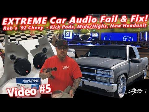 "Extreme Car Audio FAIL & Fix - ""Bucket o' BASS"" Chevy - Kick Pods, Mids/highs, New Headunit Video 5"