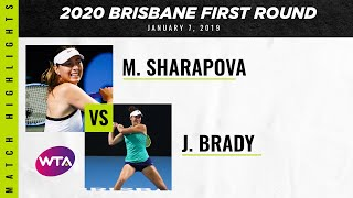 Maria Sharapova vs. Jennifer Brady | 2020 Brisbane International First Round | WTA Highlights