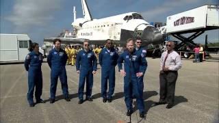 NASA Administrator Greets Discovery Crew