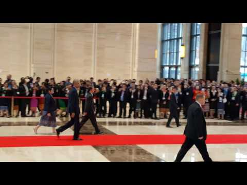 US president Obama arrives at opening of East Asia Summit
