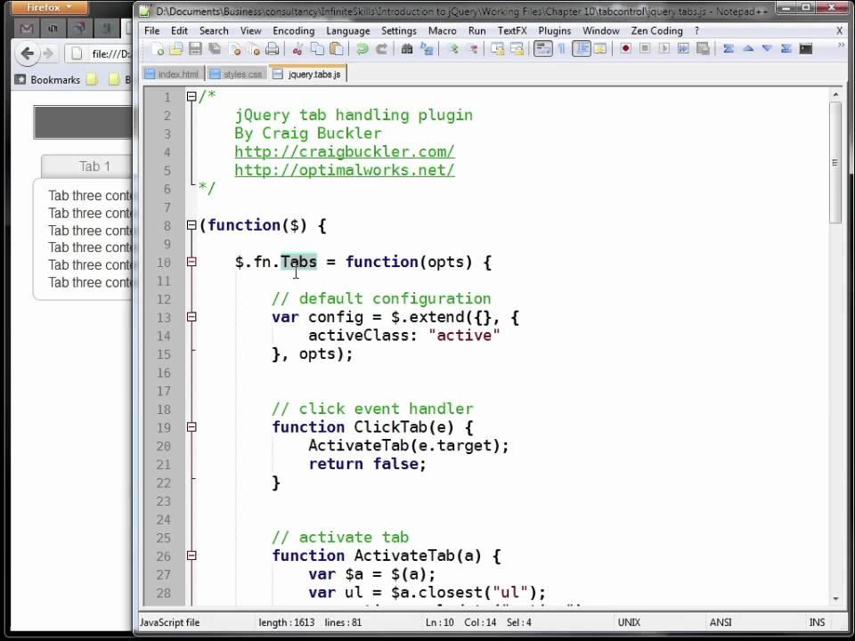 InfiniteSkills Tutorial | jQuery Training - HTML5 Tabs