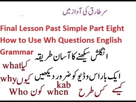 Final Lesson Past Simple Part Eight How to Use Wh Questions English Grammar