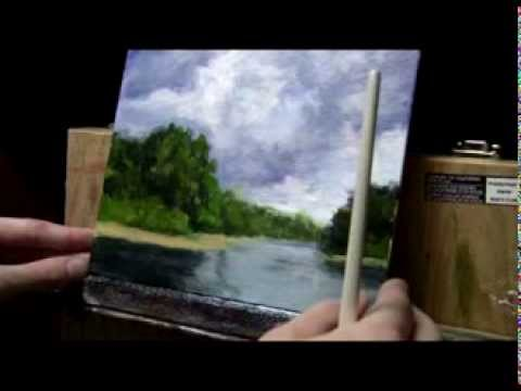 Acrylic Landscape Painting Lesson #08 - Storm Clouds & Water Reflections
