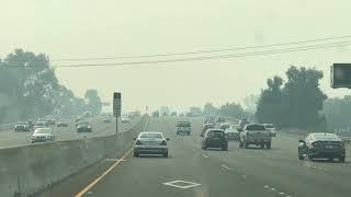 I 80 West at Fairfield Smoke from Napa Atlas fire