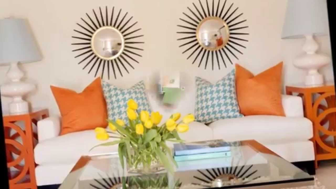 d coration salon avec des motifs oranges youtube. Black Bedroom Furniture Sets. Home Design Ideas