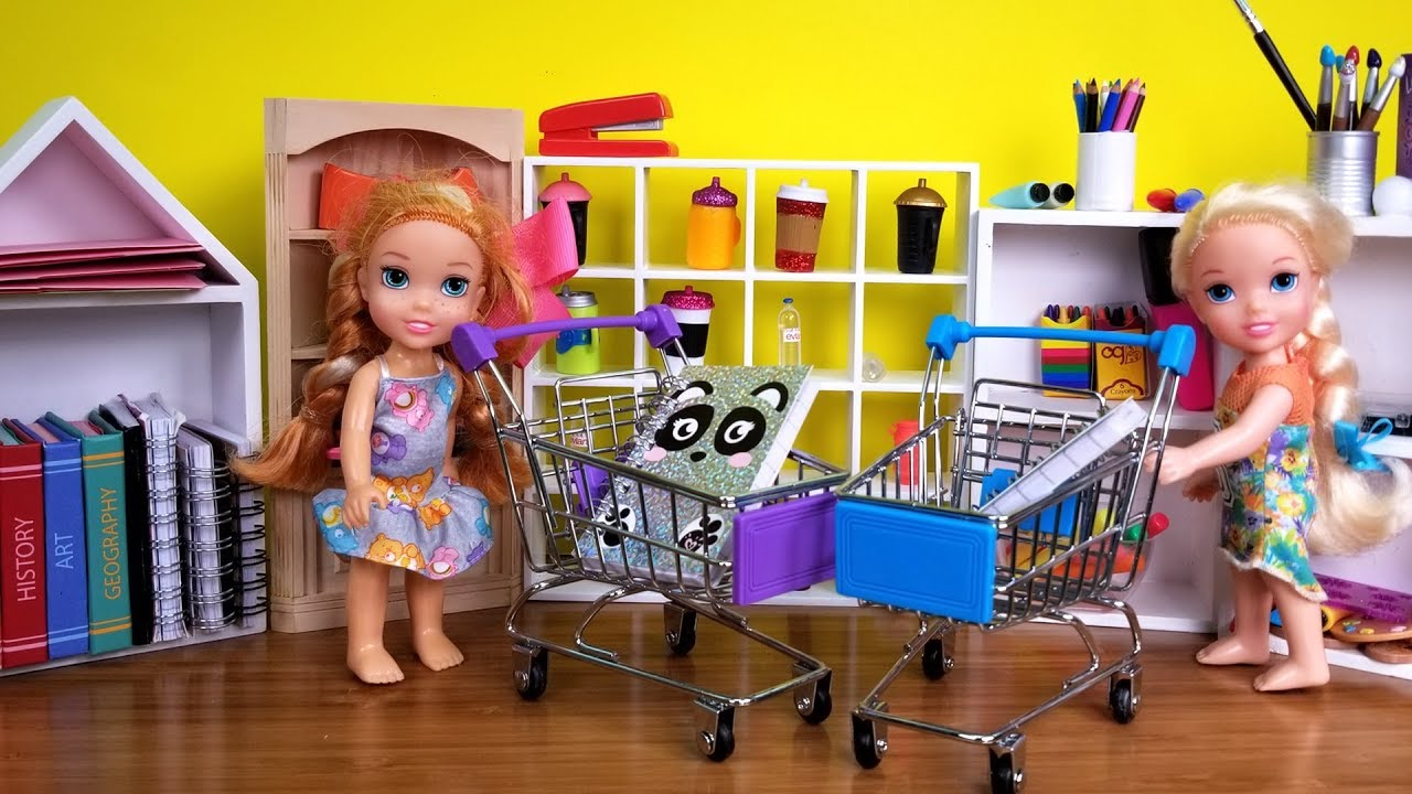 Back To School Shopping Elsa And Anna Toddlers Buy Supplies From