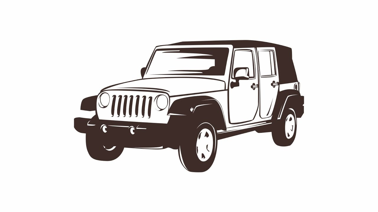 Line Drawing Car : How to draw simple line art vector with coreldraw x7 jeep youtube