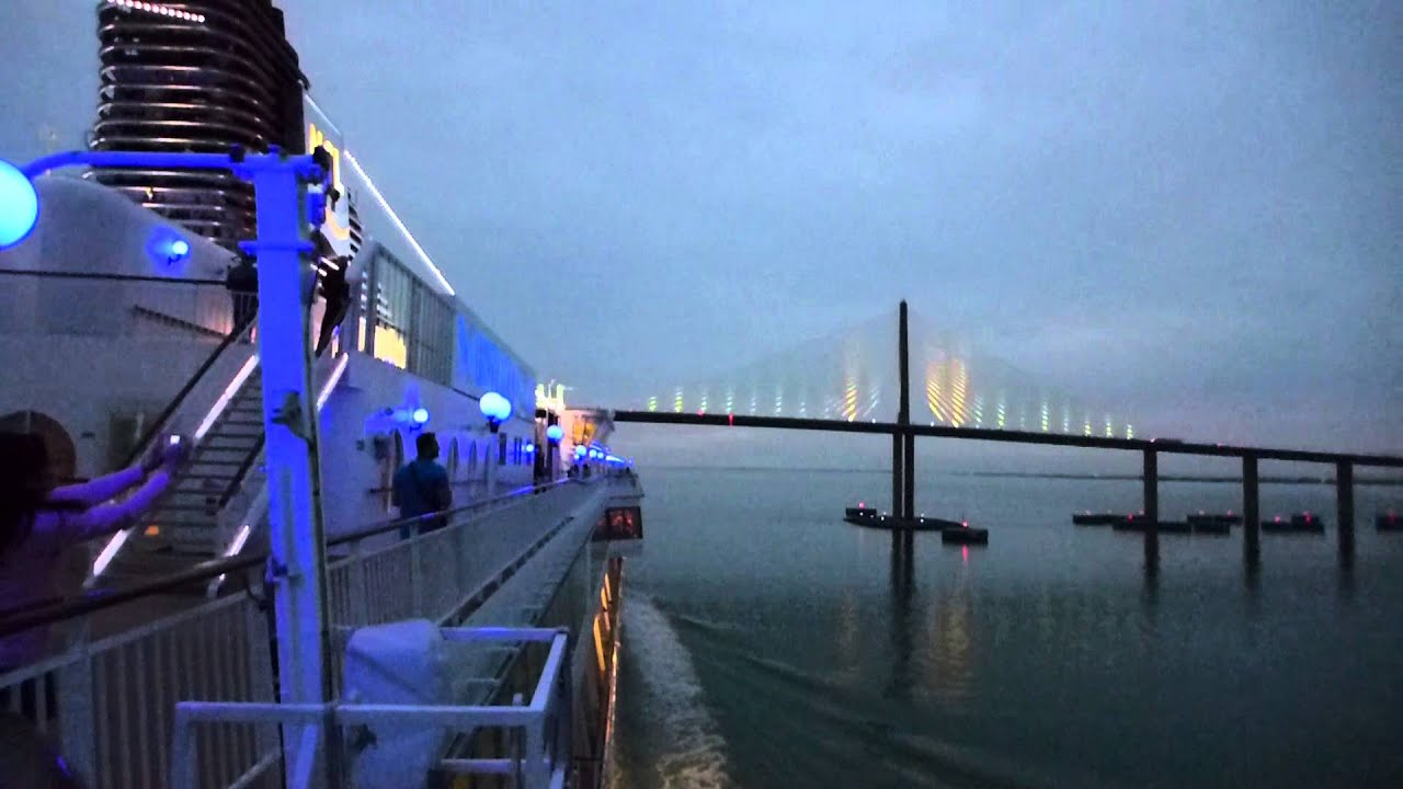 Tampa Bay Florida Norwegian Star Sailing Under The Sunshine Skyway Bridge HD 2016 YouTube