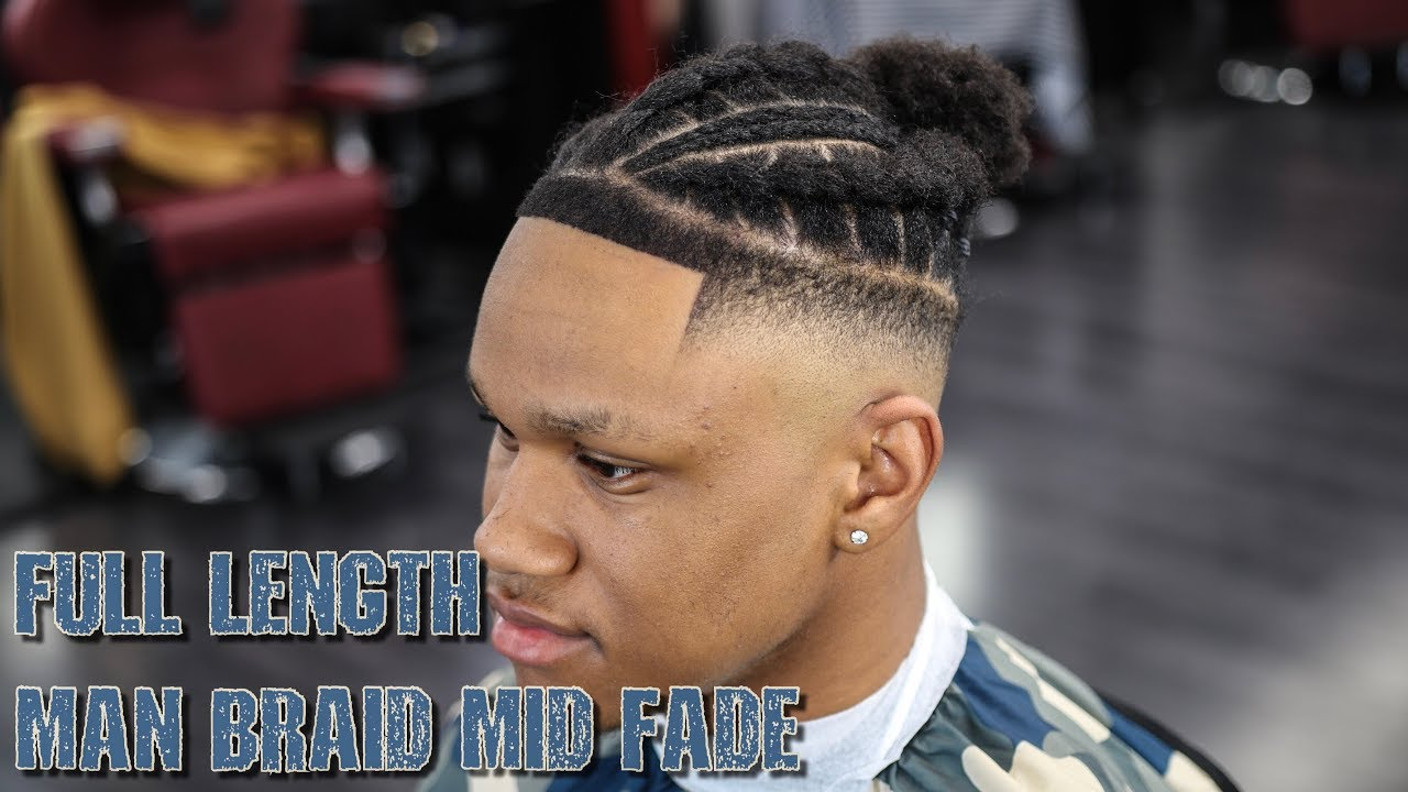 Full Length Step By Step Haircut Tutorial Braided Man Bun Style Mid Fade