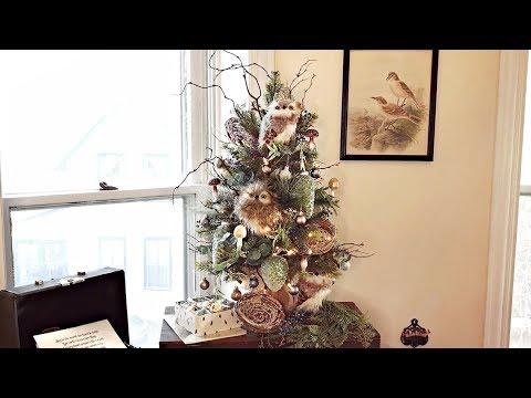 Woodland Farmhouse Owl Small Christmas Tree  - Mini Rustic Nature Tabletop Christmas Tree
