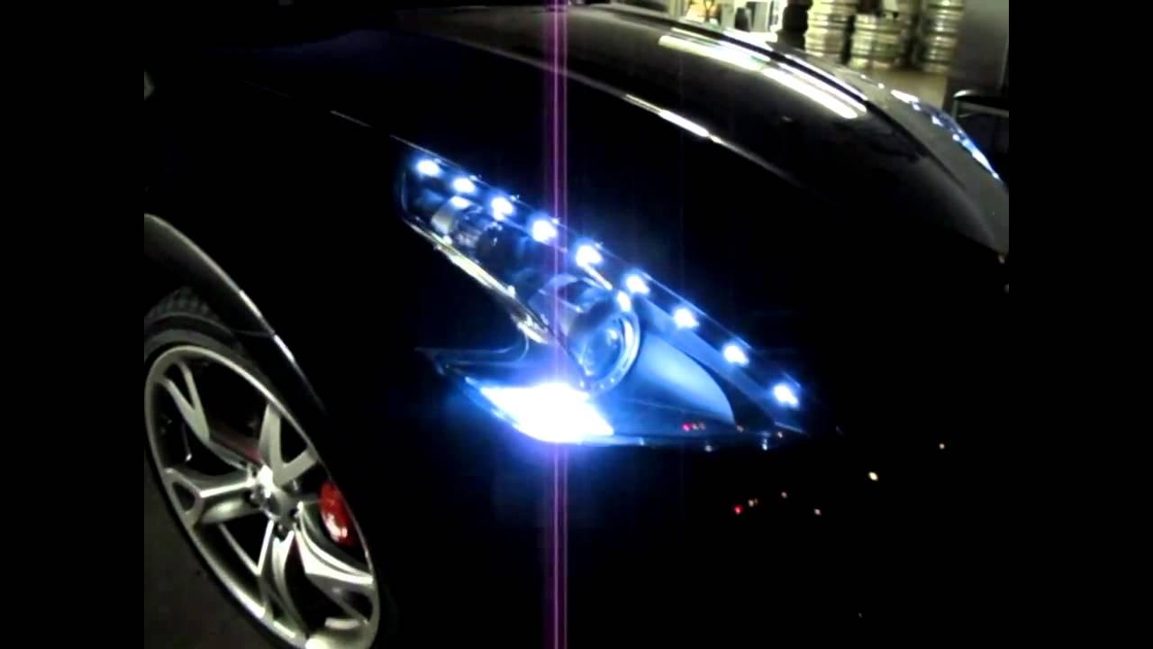 Nissan 370Z Custom LED DRL Headlight by JLC Lighting - YouTube