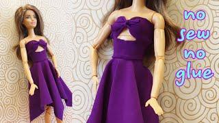 👗How to make Barbie doll clothes #DIY #barbie #clothes #dresses #dolls NO SEW NO GLUE