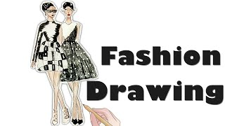 TUTORIAL - Fashion illustrations Figure Step by Step, Black and white