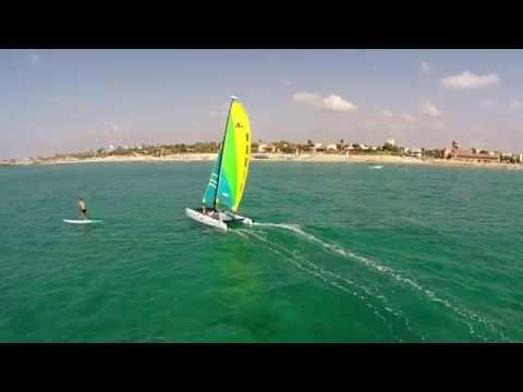 Sailboat and fisherman aerial video
