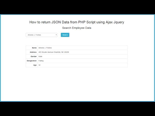 How to return JSON Data from PHP Script using Ajax Jquery