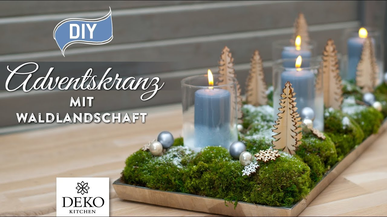 diy weihnachtsdeko adventskranz mit s er waldlandschaft how to deko kitchen p youtube. Black Bedroom Furniture Sets. Home Design Ideas