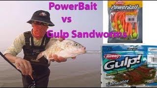 Powerbait vs Gulp sand worms (best bait for surf fishing)