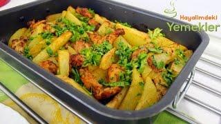 Fırında Tavuk göğsü ile Kolay Patates