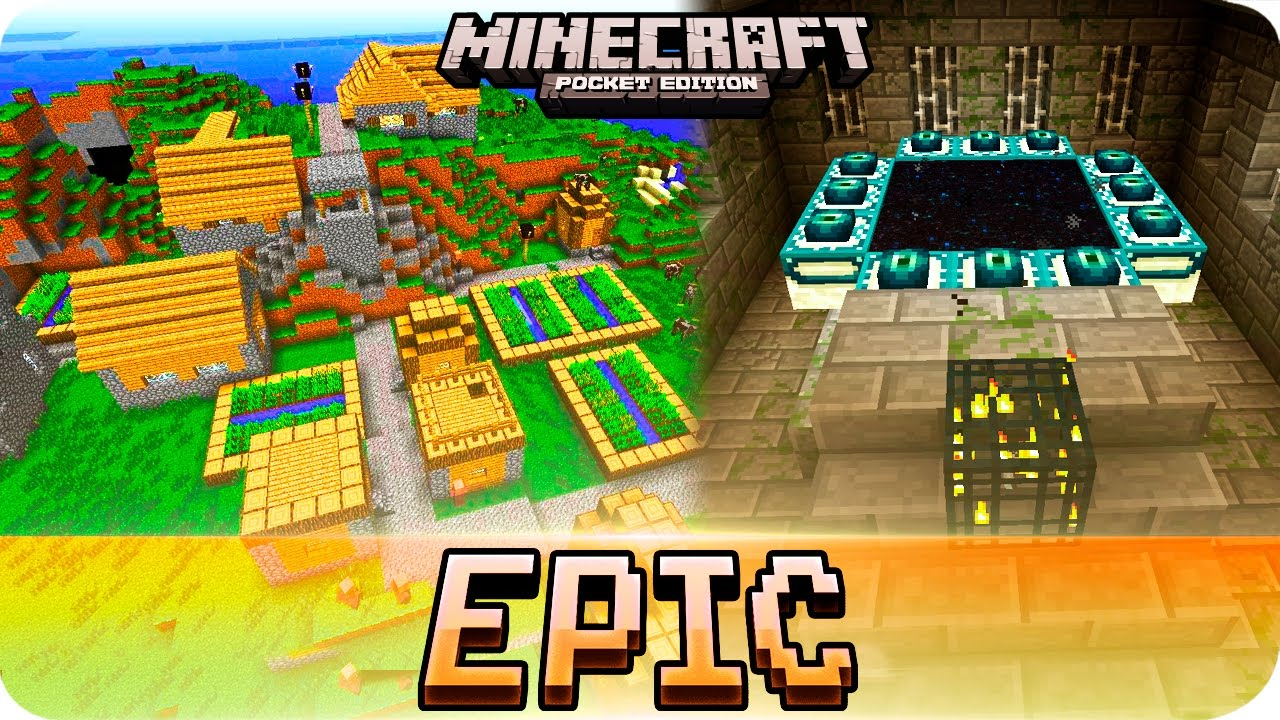 Minecraft Pe Seeds - 6 Villages  Stronghold And The End Portal   0 17 0    0 16 0