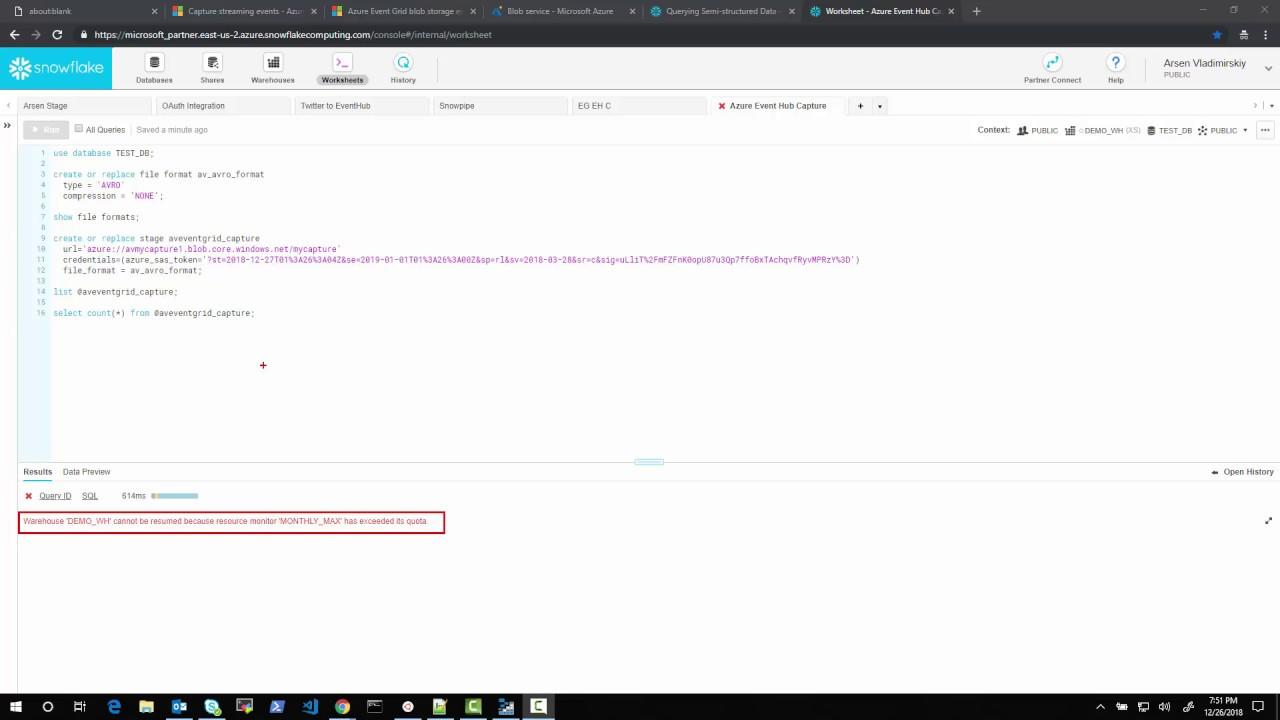 Snowflake Querying Azure Event Hub Capture Avro Files