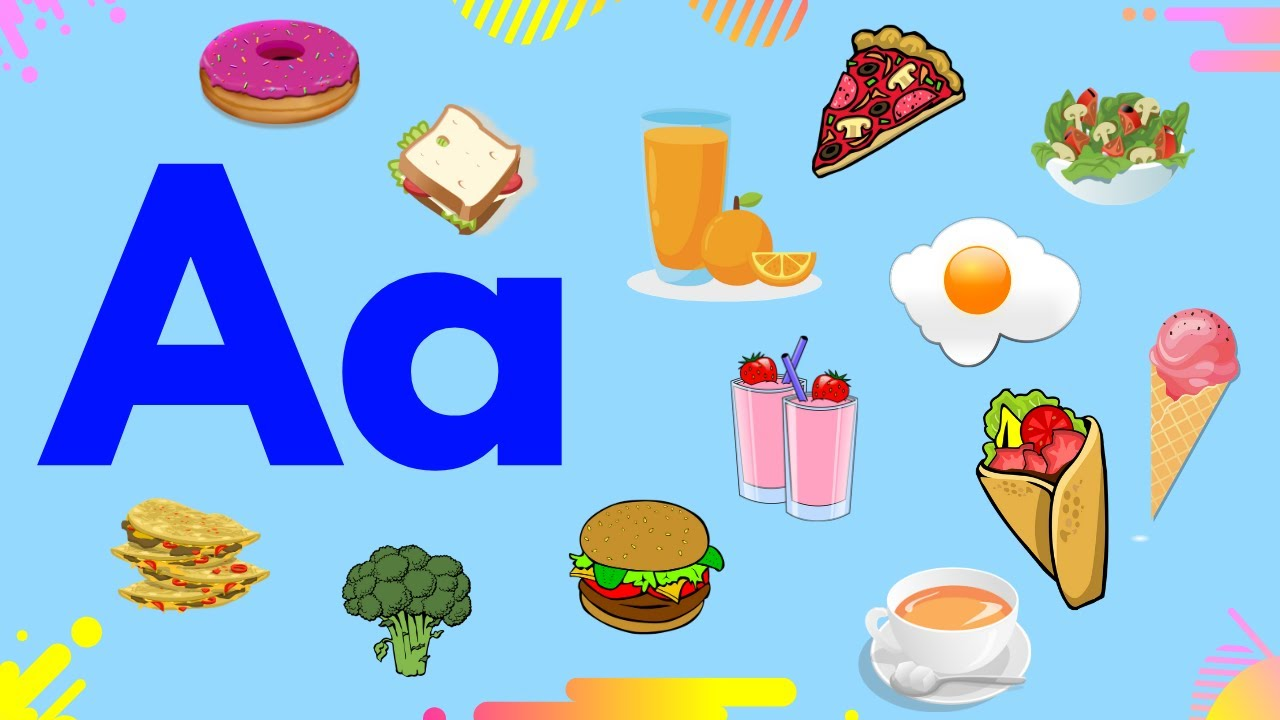 Food Alphabet for Kids   Learning Food and Drinks Vocabulary   English Letters for Kids