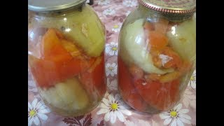 Перец фаршированный помидорами и чесноком на зиму