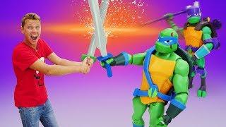 Видео распаковка для детей. Новые игрушки Черепашки-ниндзя! Веселые игры детям.
