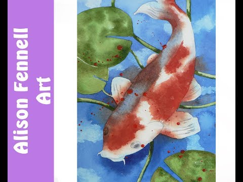 Painting A Koi Carp In Watercolor - REALTIME With Full Explanations - Please Select HD In Settings