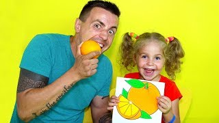 Draw the Fruits and Vegetables with the names - drawing for kids easy