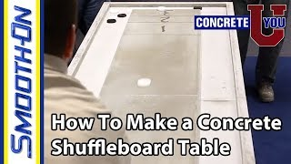 In this tutorial video we show you how we made a Shuffleboard table for our facilities. Forming molds for concrete using melamine,