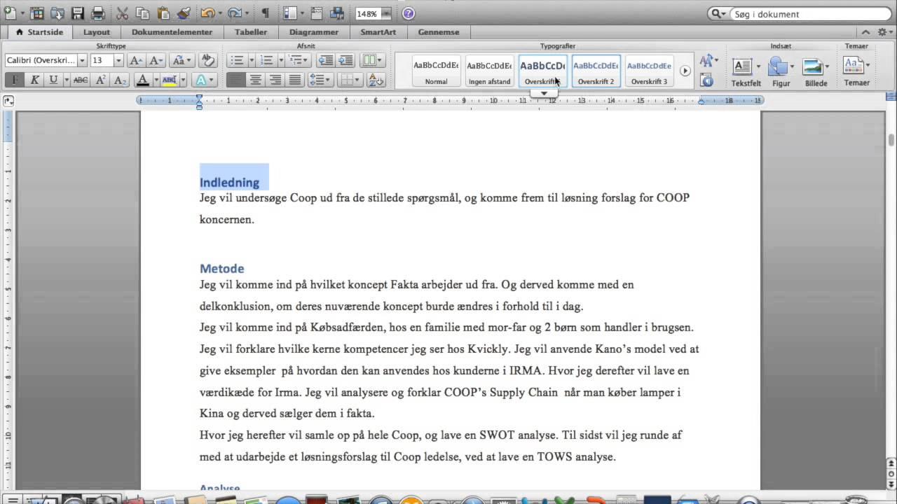 hvordan laver man indholdsfortegnelse word mac