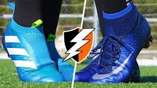 Blue Nike Mercurial Cleats vs. adidas