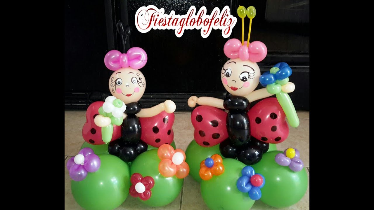 Como hacer una mariquita coqueta o lady bug con globos - Hacer munecos con globos ...