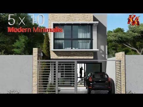 desain rumah modern minimalis 5 x 10 / small house design