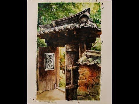 풍경수채화 Watercolor painting of Korean traditional house gate