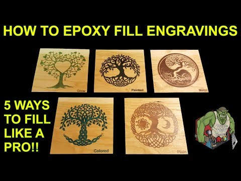 Epoxy Resin Tutorial - How to Fill wood engravings like a pro 5 different ways to DIY
