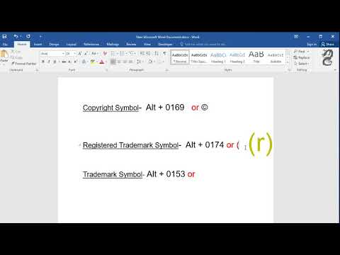 How To Type Copyright Symbol Registered Trademark Symbol And