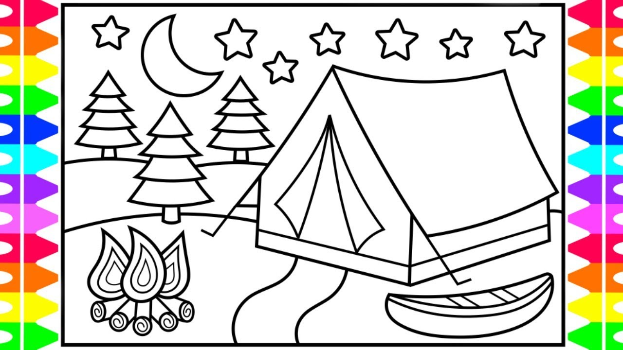 How to Draw a Camping Tent for Kids 💙💜⭐️ Camping Tent ...