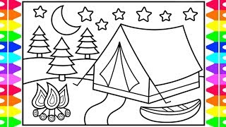 How to Draw a Camping Tent for Kids 💙💜⭐️ Camping Tent Drawing | Camping Tent Coloring Pages